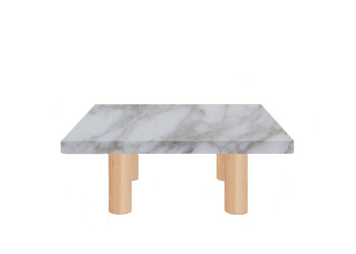 Small Square Calacatta Oro Coffee Table with Circular Ash Legs