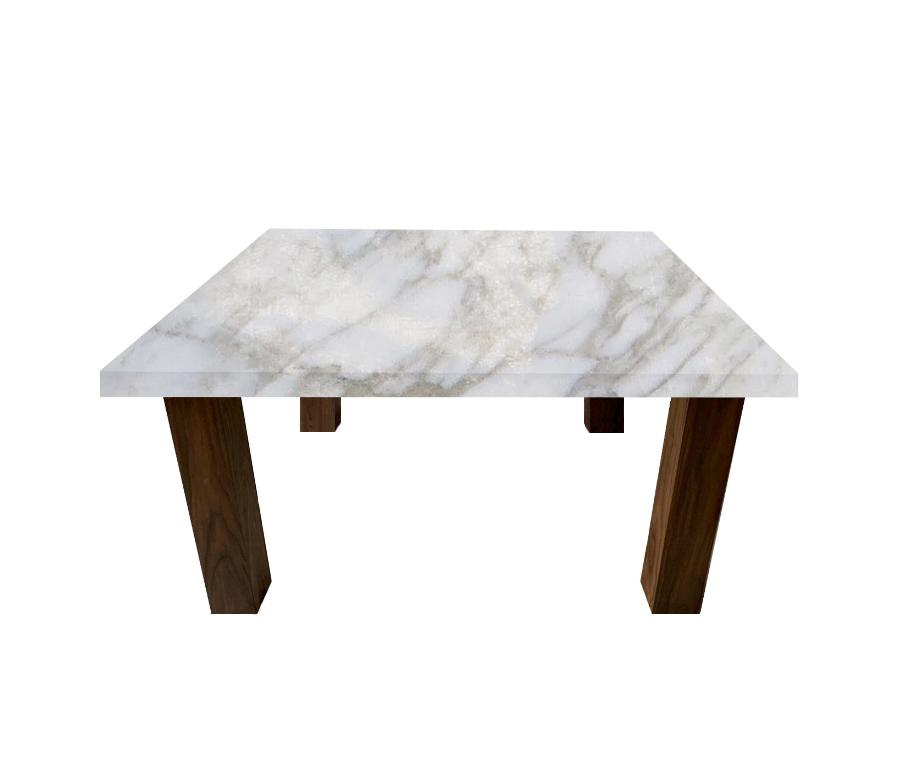 Calacatta Oro Square Coffee Table with Square Walnut Legs
