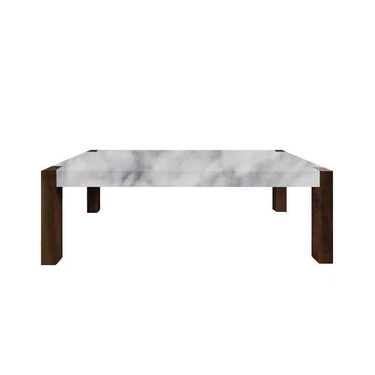 Carrara Marble Percopo Solid Marble Dining Table with Walnut Legs