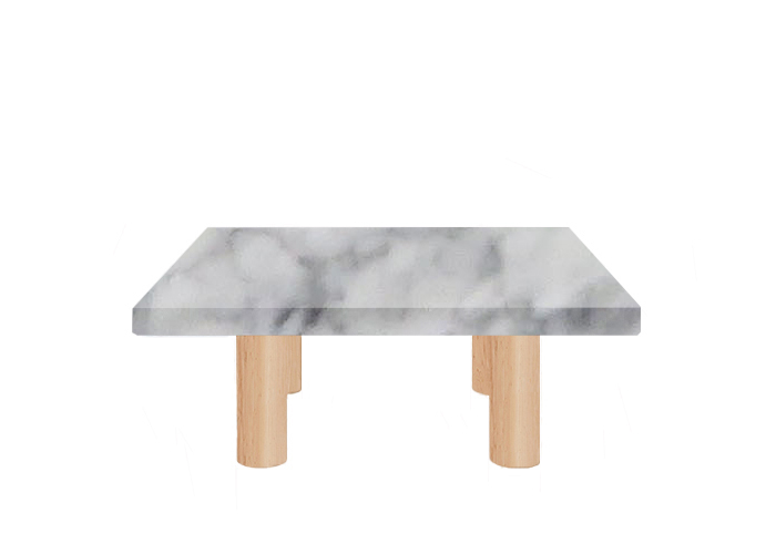 Small Square Carrara Marble Coffee Table with Circular Ash Legs