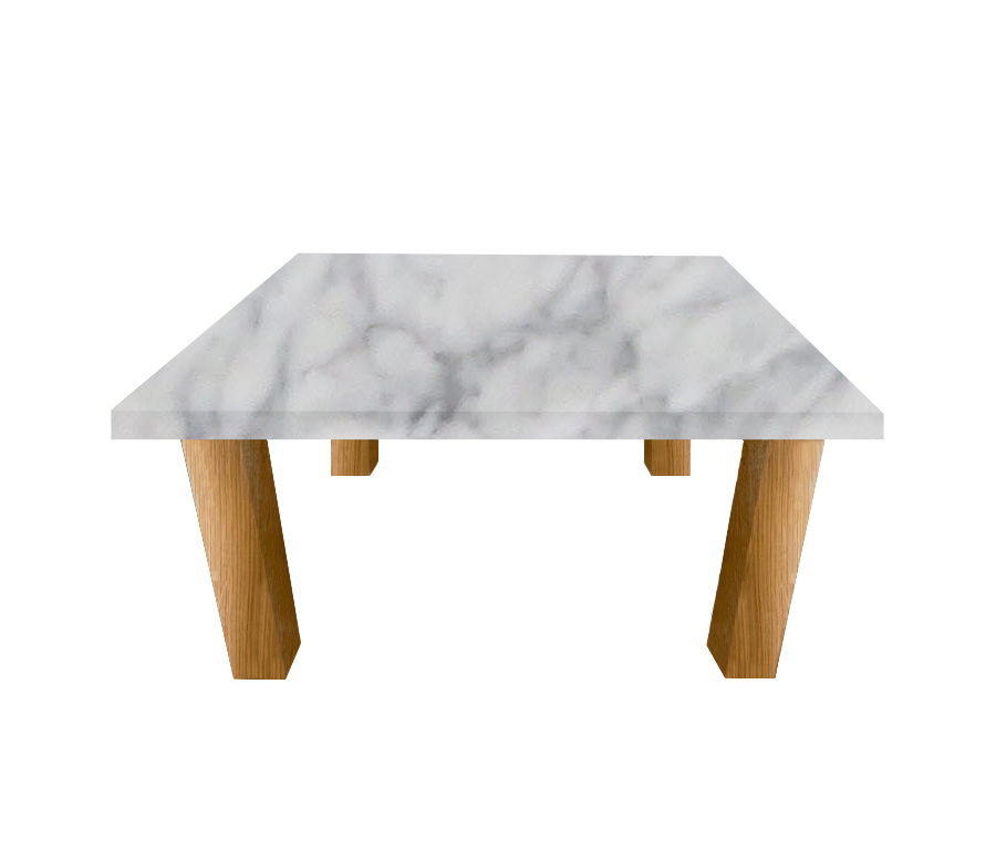 Carrara Marble Square Coffee Table with Square Oak Legs