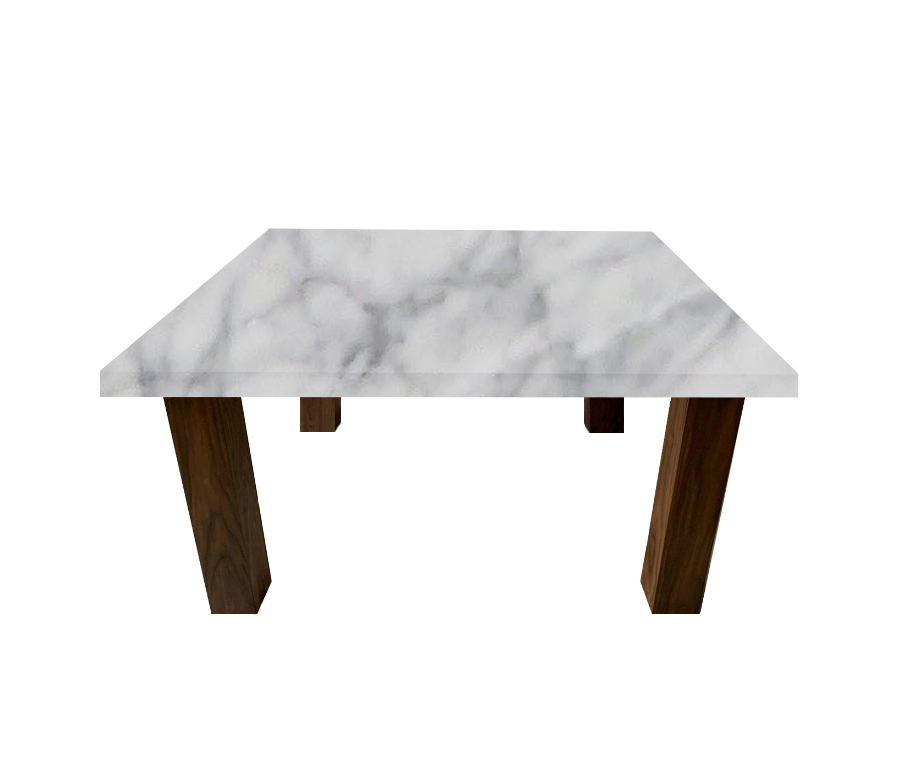 Carrara Marble Square Coffee Table with Square Walnut Legs