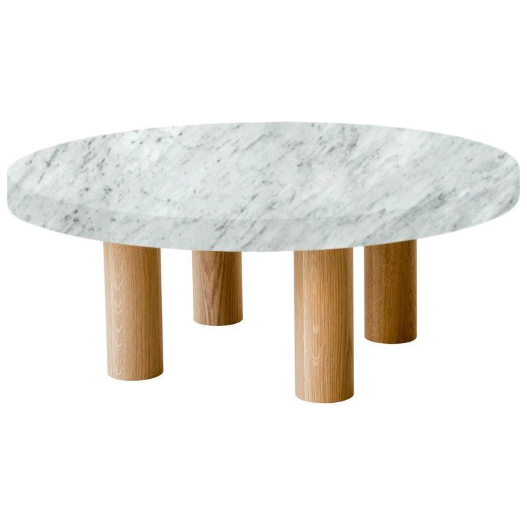 Round Carrara Extra Coffee Table with Circular Oak Legs