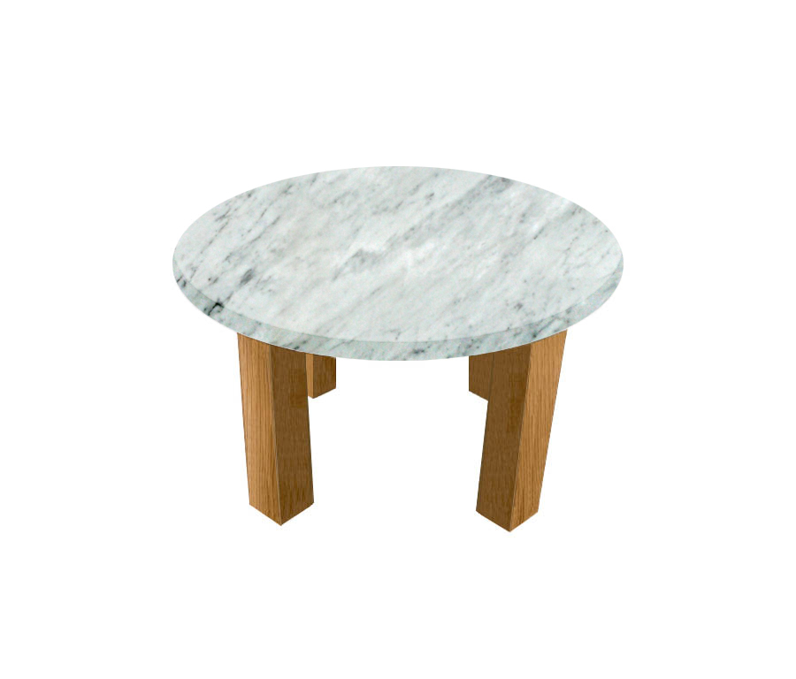 Carrara Extra Round Coffee Table with Square Oak Legs