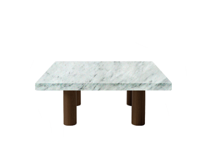 Small Square Carrara Extra Marble Coffee Table with Circular Walnut Legs