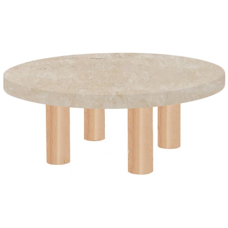 Round Classic Roman Travertine Coffee Table with Circular Ash Legs