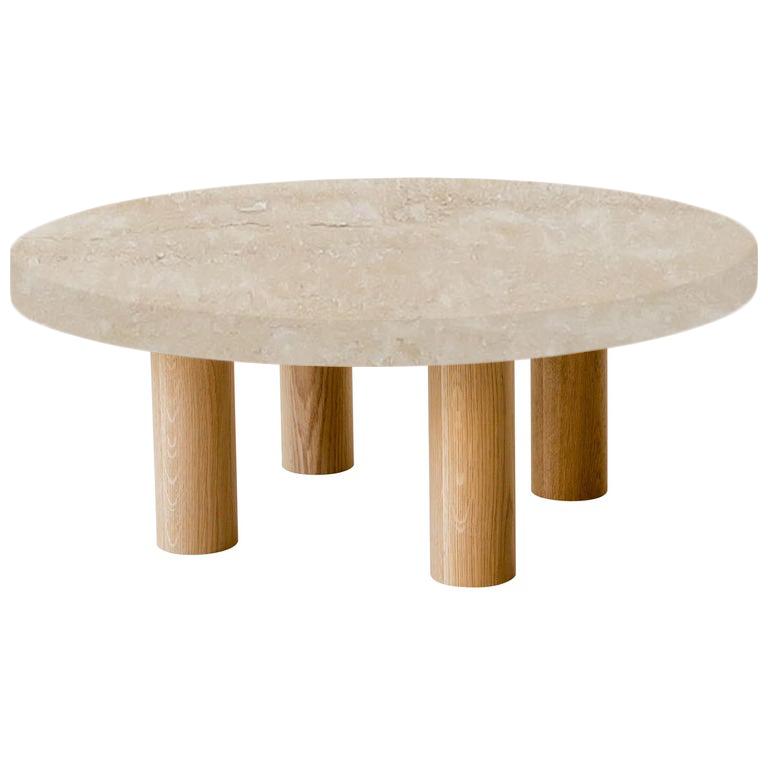 Round Classic Roman Travertine Coffee Table with Circular Oak Legs