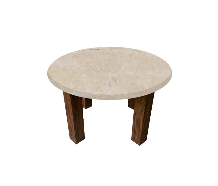 Classic Roman Travertine Round Coffee Table with Square Walnut Legs