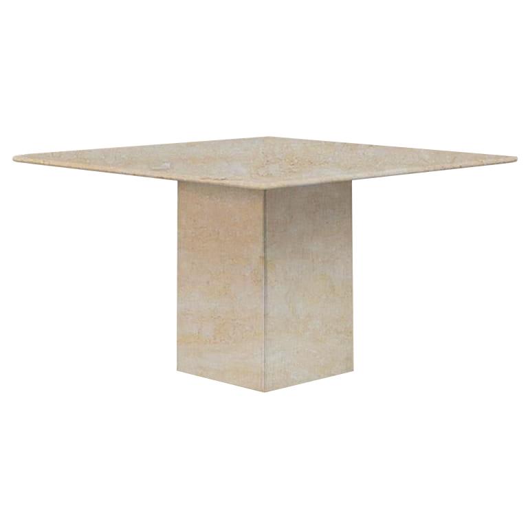 Classic Roman Small Square Travertine Dining Table