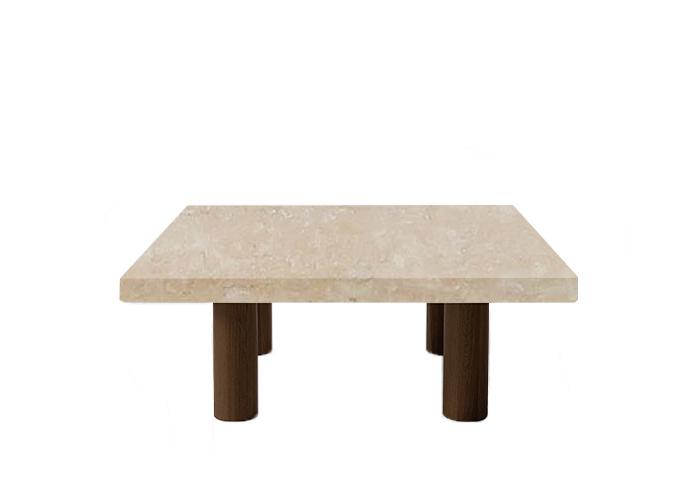 Classic Roman Travertine Square Coffee Table with Circular Walnut Legs