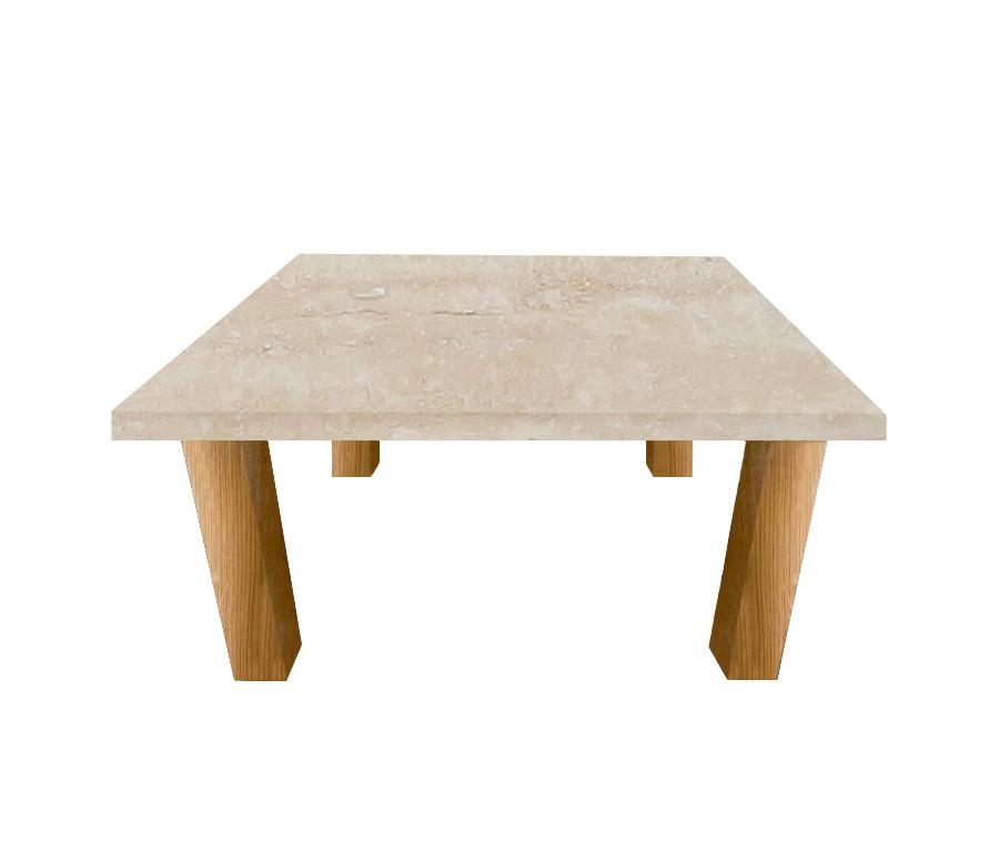 Classic Roman Travertine Square Coffee Table with Square Oak Legs