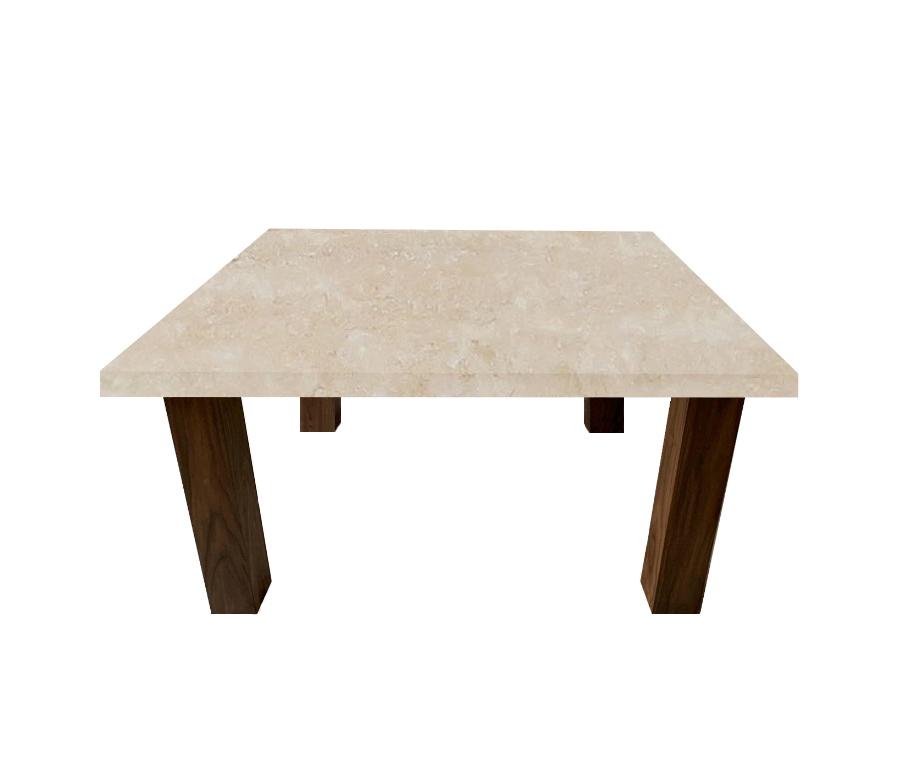 Classic Roman Travertine Square Coffee Table with Square Walnut Legs