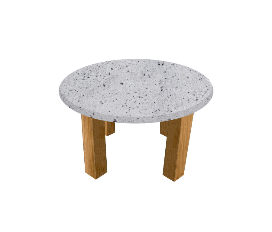 Colonial White Round Coffee Table with Square Oak Legs