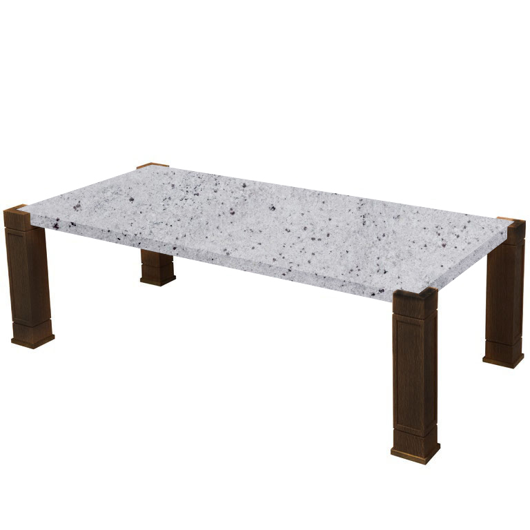Faubourg Colonial White Inlay Coffee Table with Walnut Legs