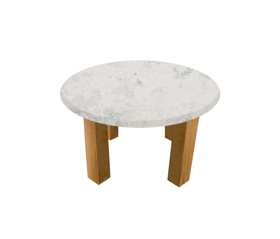 Concrete Quartz Round Coffee Table with Square Oak Legs
