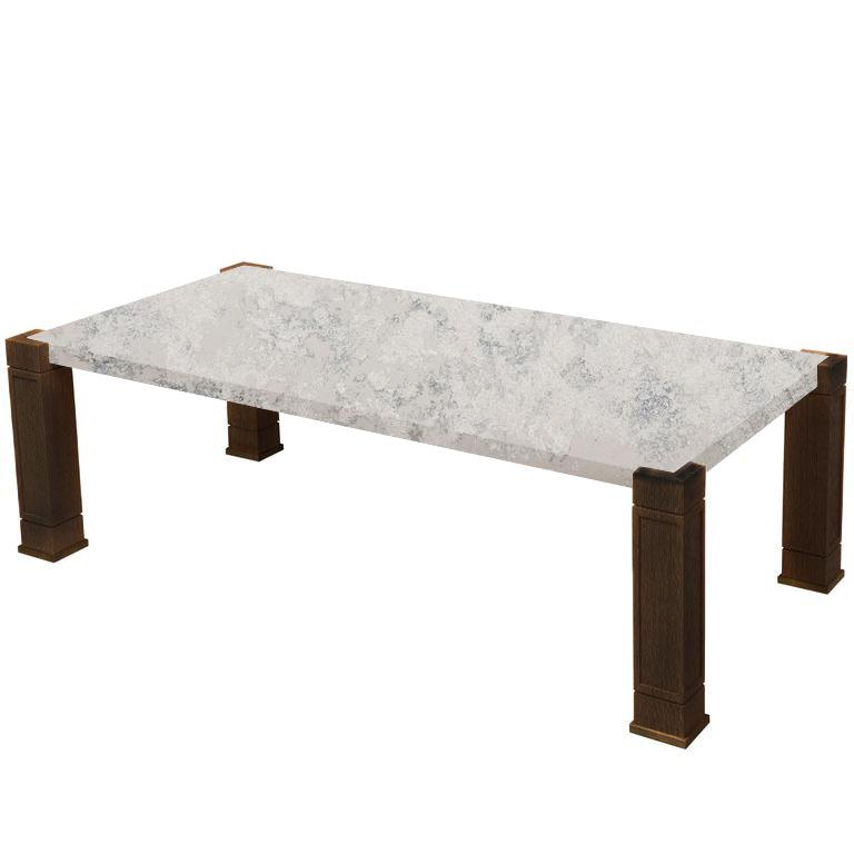 Faubourg Concrete Quartz Inlay Coffee Table with Walnut Legs