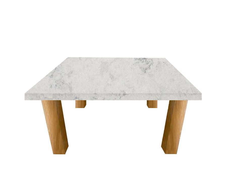Concrete Quartz Square Coffee Table with Square Oak Legs