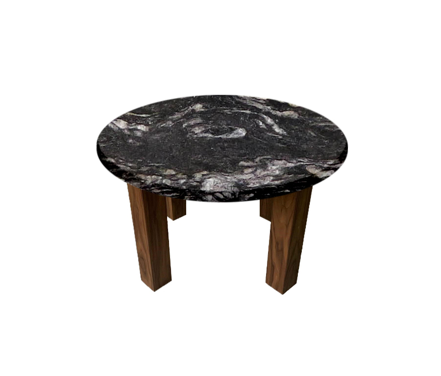 Cosmic Black Round Coffee Table with Square Walnut Legs