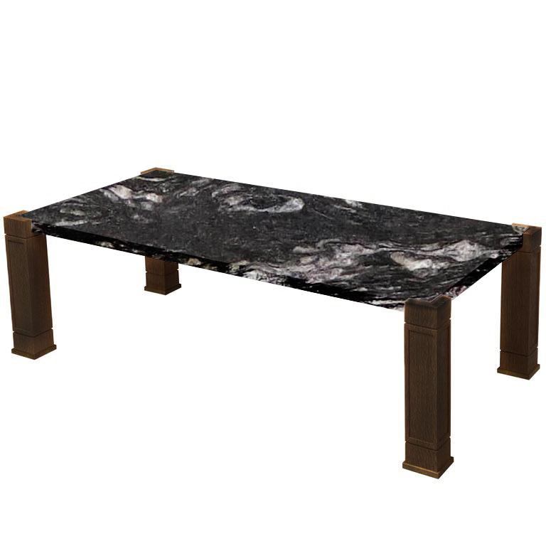 Faubourg Cosmic Black Inlay Coffee Table with Walnut Legs