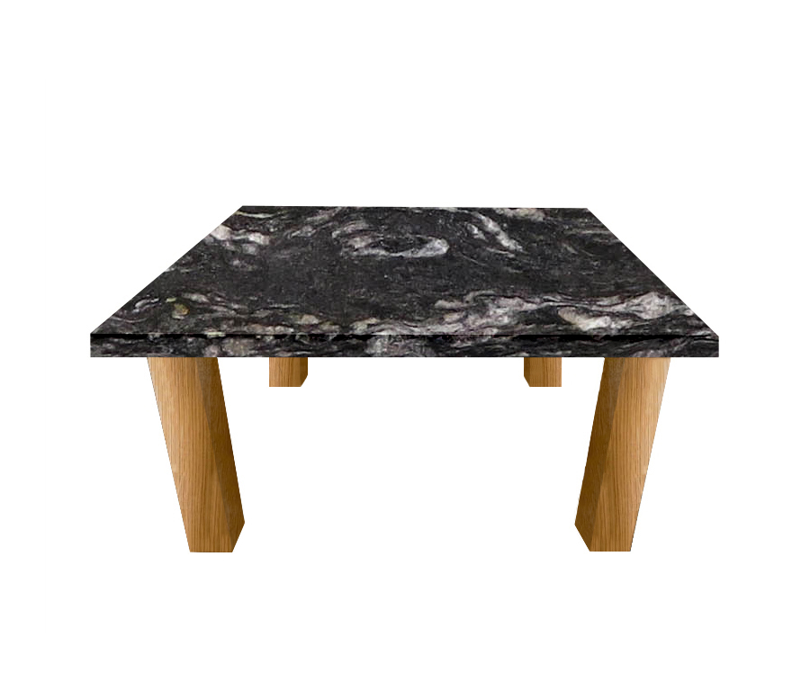 Cosmic Black Square Coffee Table with Square Oak Legs