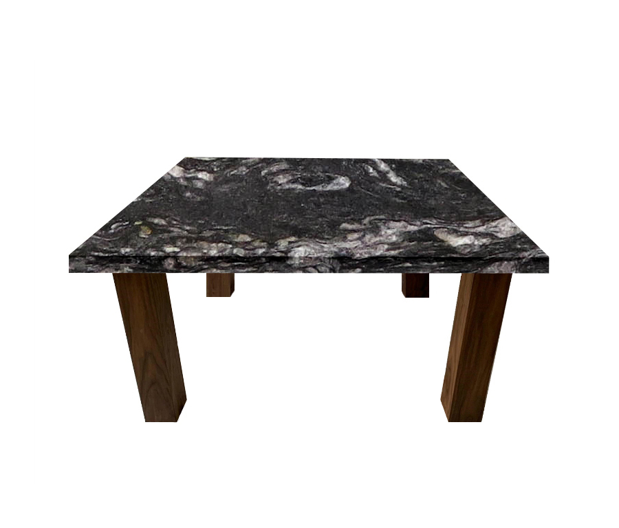 Cosmic Black Square Coffee Table with Square Walnut Legs