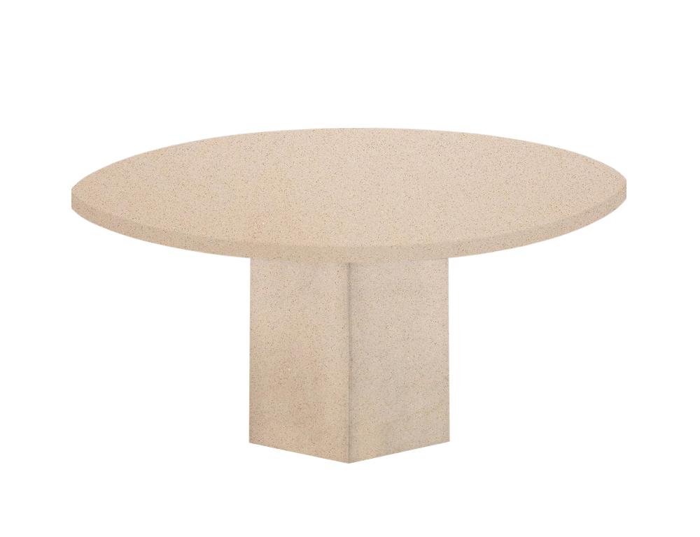 Cream Diamond Gala Round Quartz Dining Table