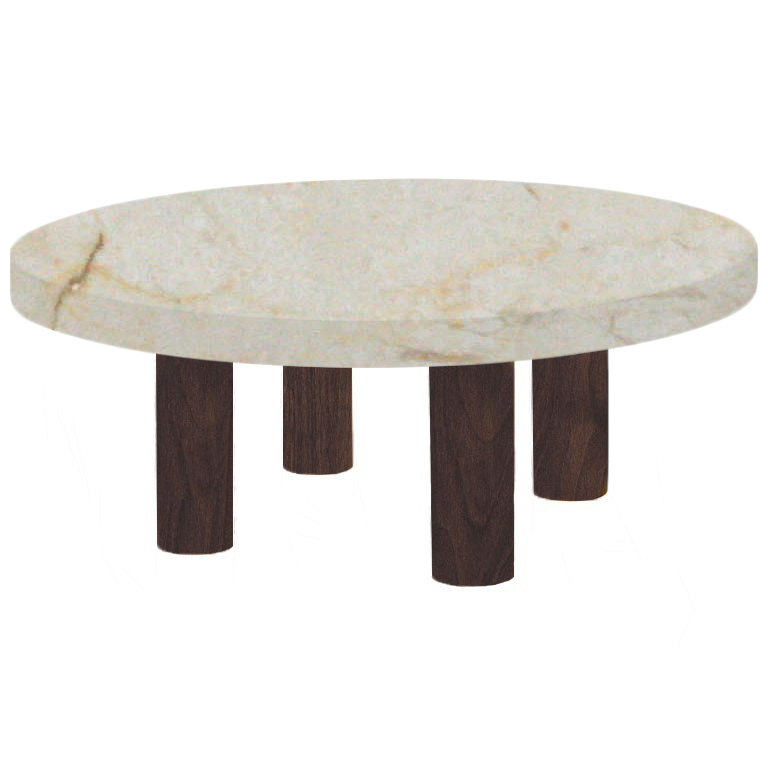 Round Crema Marfil Coffee Table with Circular Walnut Legs