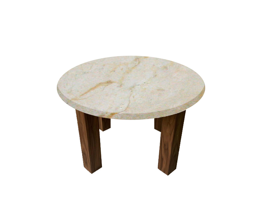 Crema Marfil Round Coffee Table with Square Walnut Legs