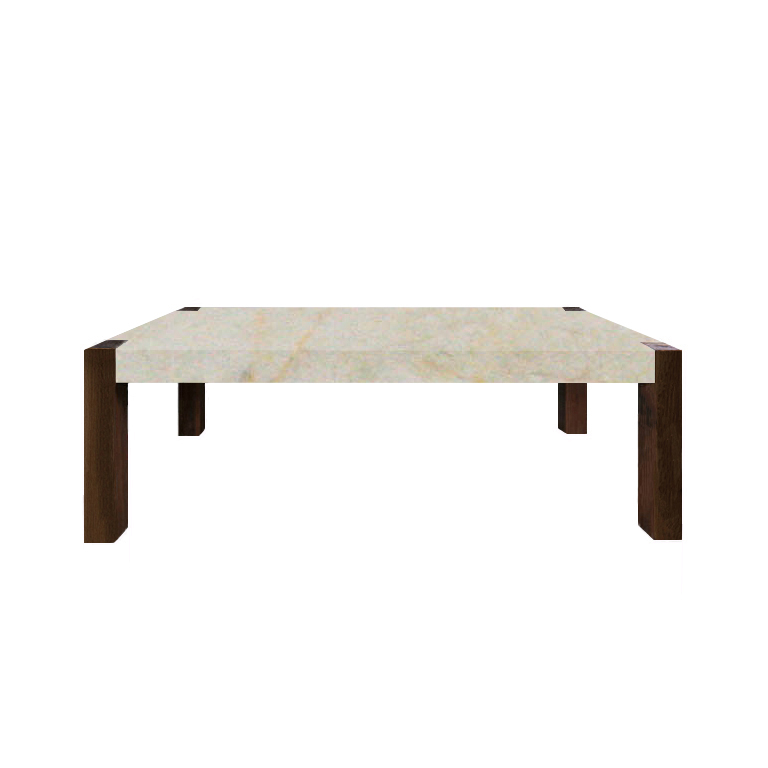 Crema Marfil Percopo Solid Marble Dining Table with Walnut Legs