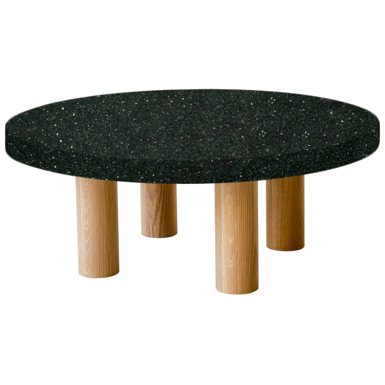 Round Emerald Pearl Coffee Table with Circular Oak Legs