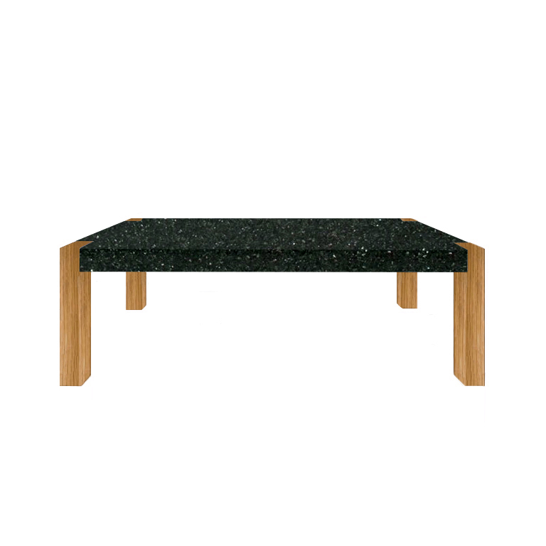 Emerald Pearl Percopo Solid Granite Dining Table with Oak Legs
