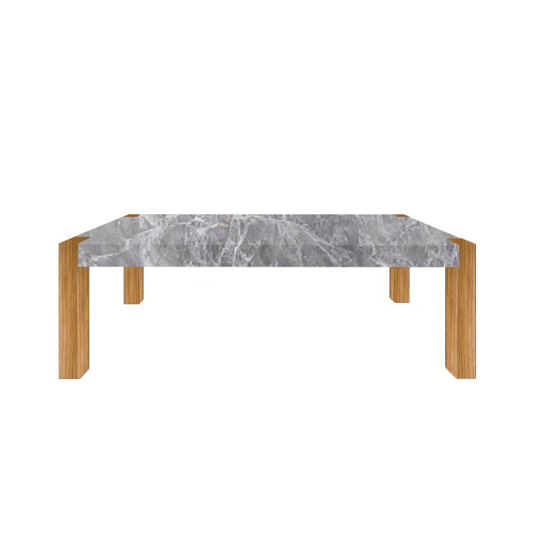 Emperador Grey Percopo Solid Marble Dining Table with Oak Legs