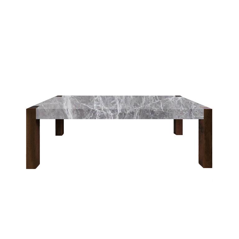 Emperador Grey Percopo Solid Marble Dining Table with Walnut Legs