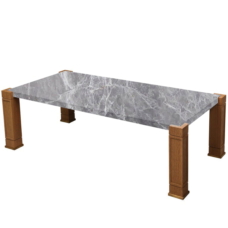 Faubourg Emperador Grey Inlay Coffee Table with Oak Legs