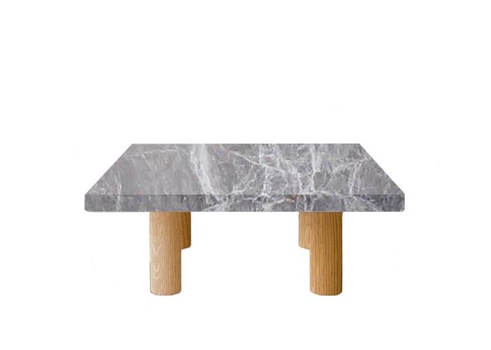 Emperador Grey Square Coffee Table with Circular Walnut Legs