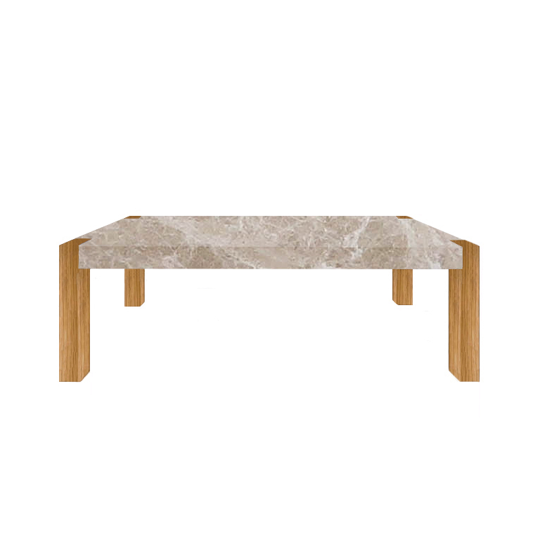 Emperador Light Percopo Solid Marble Dining Table with Oak Legs