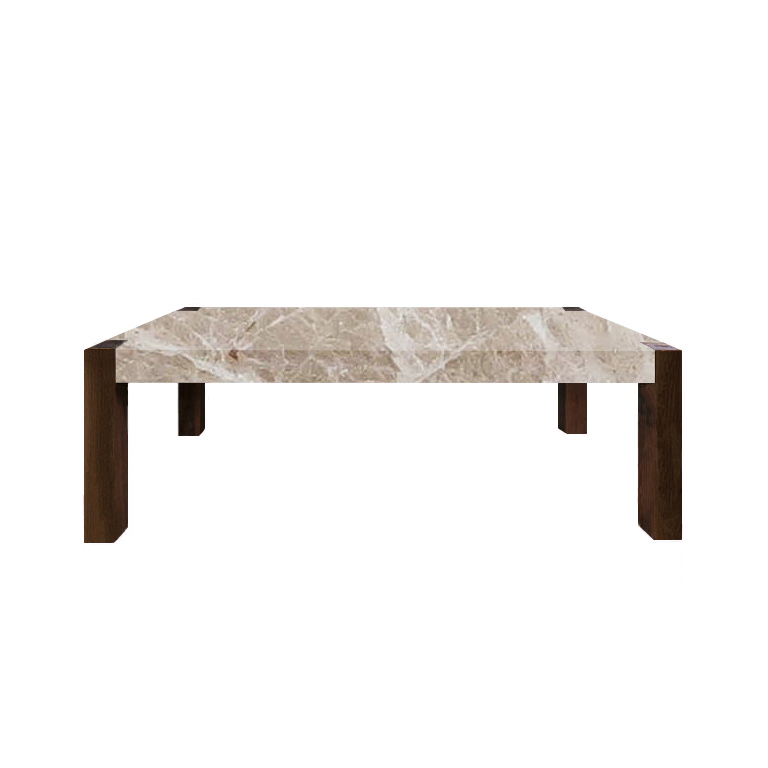 Emperador Light Percopo Solid Marble Dining Table with Walnut Legs