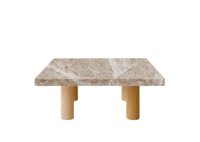 Small Square Emperador Light Coffee Table with Circular Oak Legs