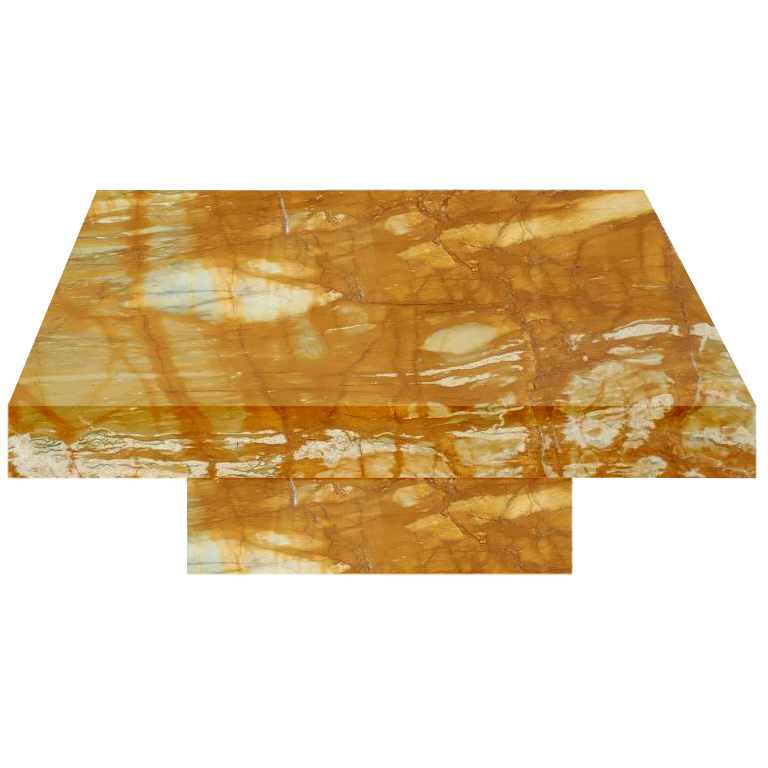 Giallo Sienna Square Solid Marble Coffee Table