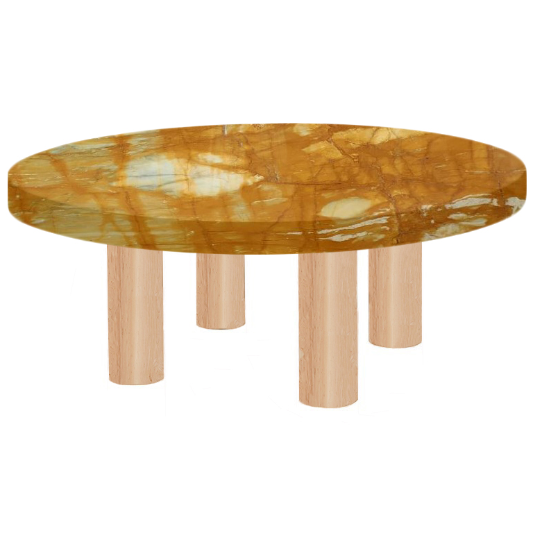 Round Giallo Sienna Coffee Table with Circular Ash Legs