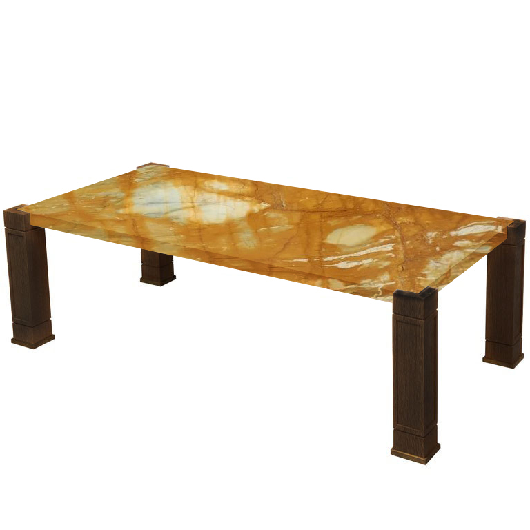 Faubourg Giallo Sienna Inlay Coffee Table with Walnut Legs