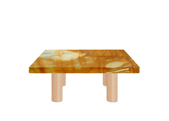 Giallo Sienna Square Coffee Table with Circular Ash Legs