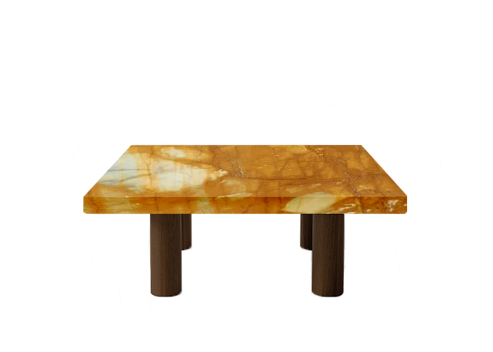Giallo Sienna Square Coffee Table with Circular Walnut Legs