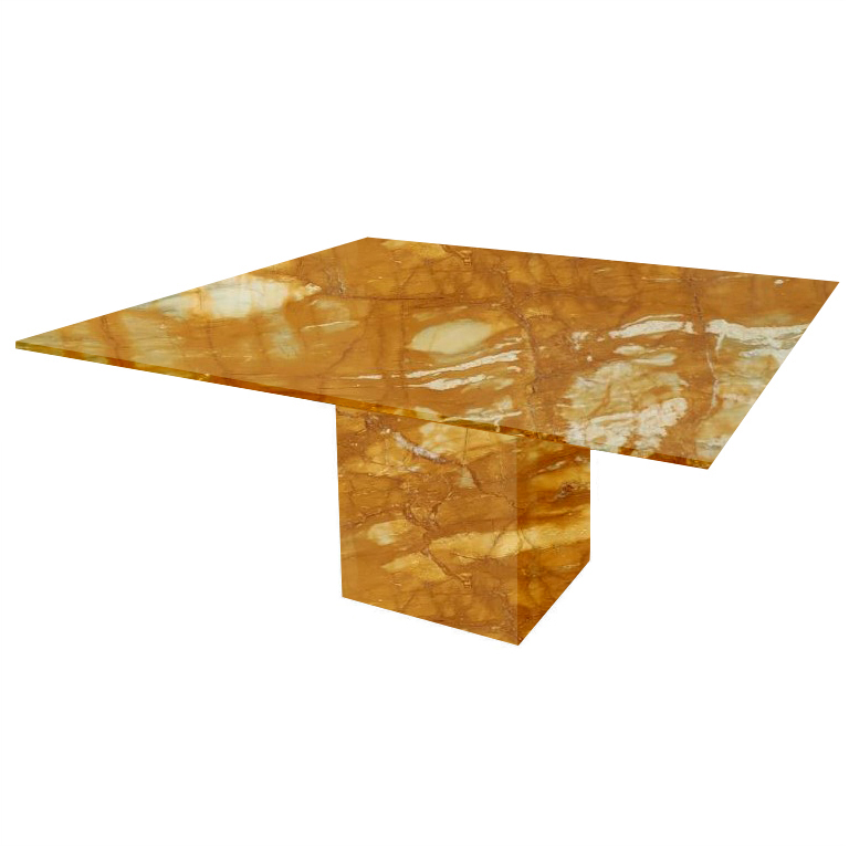 Giallo Sienna Bergiola Square Marble Dining Table