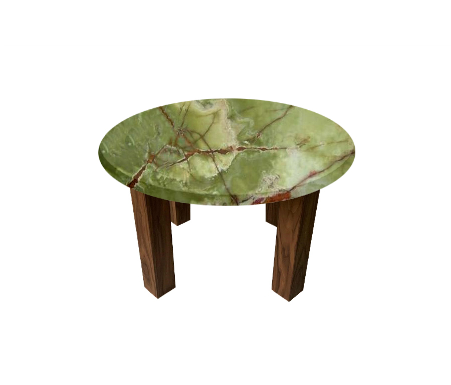 Green Onyx Round Coffee Table with Square Walnut Legs