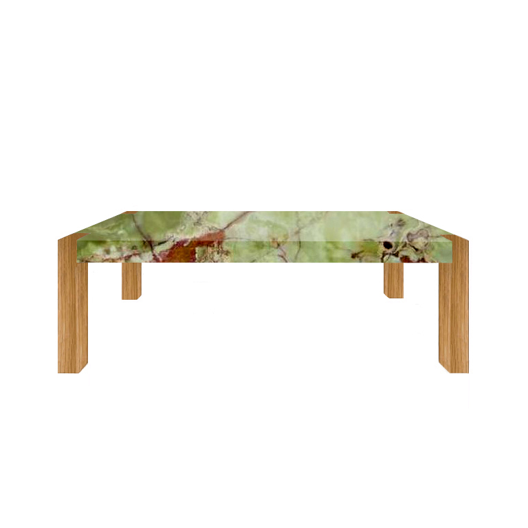 Green Percopo Solid Onyx Dining Table with Oak Legs