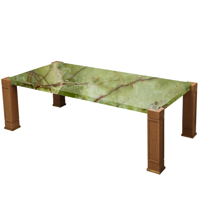 Faubourg Green Onyx Inlay Coffee Table with Oak Legs