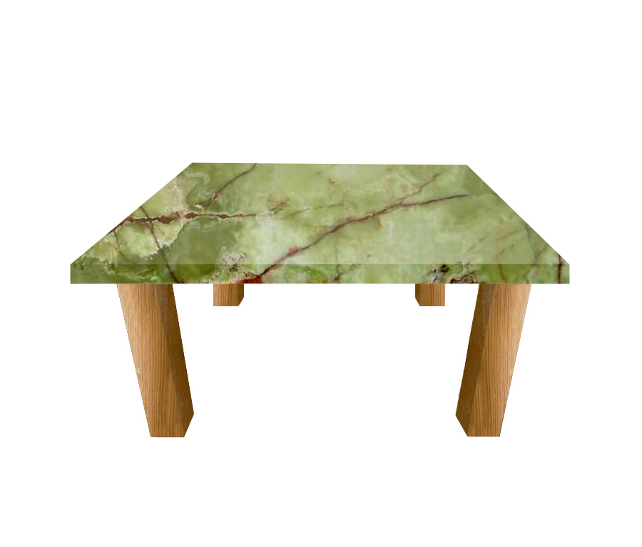 Green Onyx Square Coffee Table with Square Oak Legs