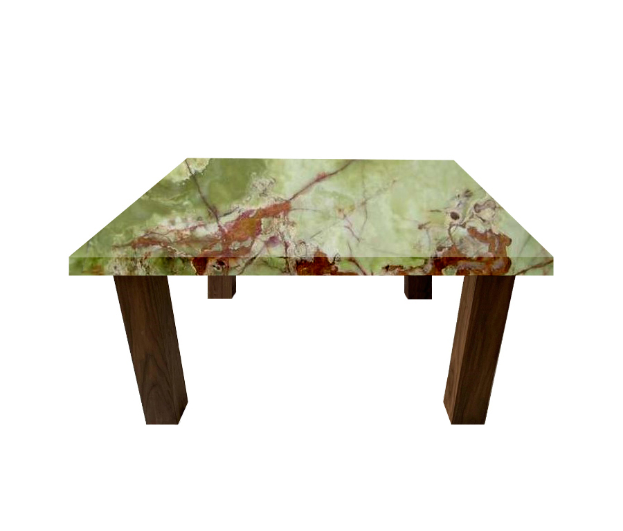 Green Onyx Square Coffee Table with Square Walnut Legs