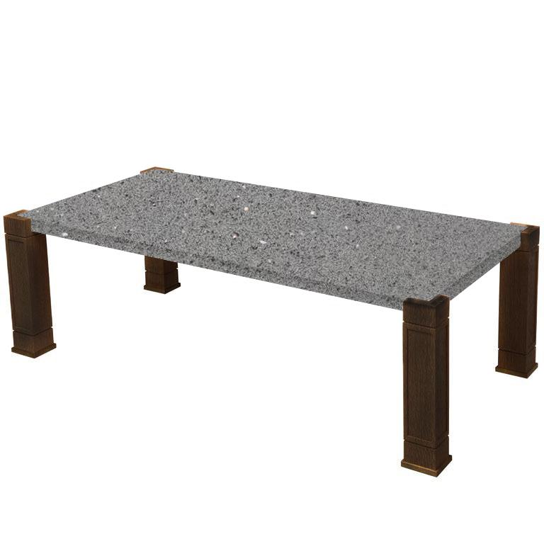Faubourg Grey Starlight Quartz Inlay Coffee Table with Walnut Legs